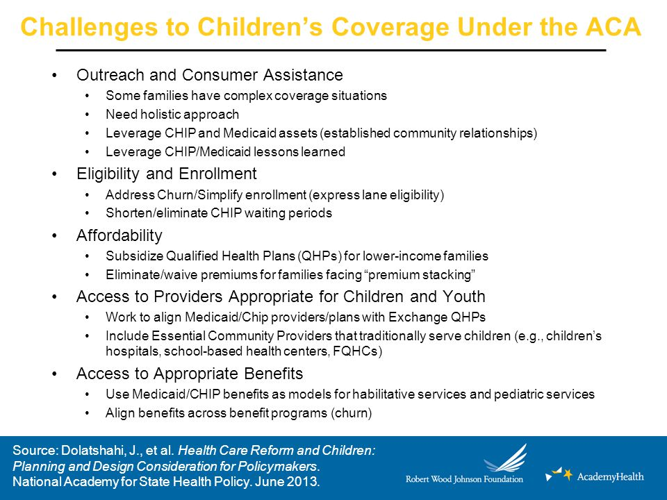 Challenges to Children's Coverage Under the ACA Outreach and Consumer Assistance Some families have complex coverage situations Need holistic approach Leverage CHIP and Medicaid assets (established community relationships) Leverage CHIP/Medicaid lessons learned Eligibility and Enrollment Address Churn/Simplify enrollment (express lane eligibility) Shorten/eliminate CHIP waiting periods Affordability Subsidize Qualified Health Plans (QHPs) for lower-income families Eliminate/waive premiums for families facing premium stacking Access to Providers Appropriate for Children and Youth Work to align Medicaid/Chip providers/plans with Exchange QHPs Include Essential Community Providers that traditionally serve children (e.g., children's hospitals, school-based health centers, FQHCs) Access to Appropriate Benefits Use Medicaid/CHIP benefits as models for habilitative services and pediatric services Align benefits across benefit programs (churn) Source: Dolatshahi, J., et al.