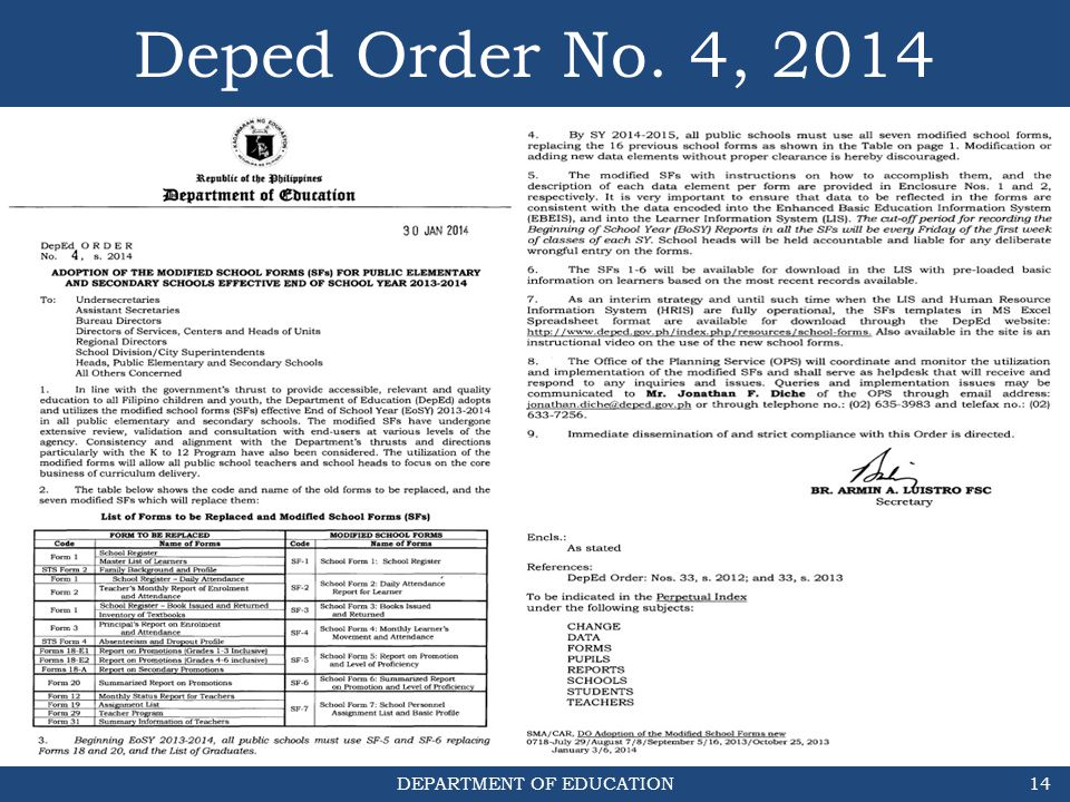 DEPARTMENT OF EDUCATION Deped Order No. 4, 2014 14