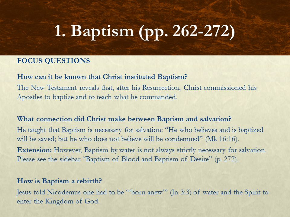 FOCUS QUESTIONS How can it be known that Christ instituted Baptism? The New Testament reveals that, after his Resurrection, Christ commissioned his Ap