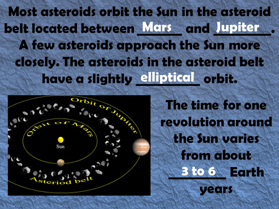 Most asteroids orbit the Sun in the asteroid belt located between _______ and _________. A few asteroids approach the Sun more closely. The asteroids