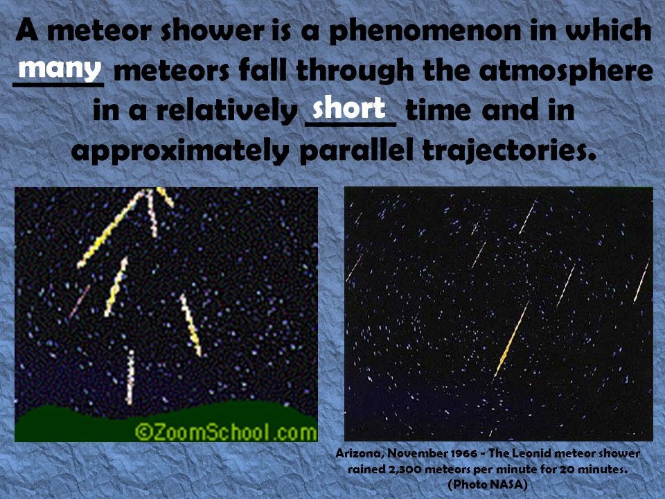 A meteor shower is a phenomenon in which ______ meteors fall through the atmosphere in a relatively ______ time and in approximately parallel trajectories.