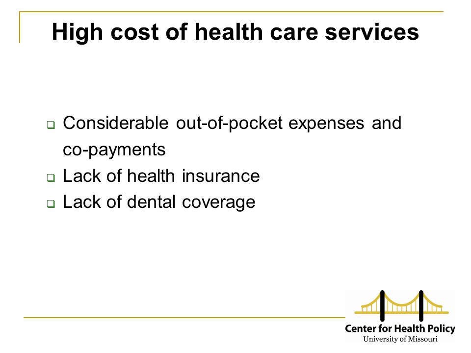 High cost of health care services  Considerable out-of-pocket expenses and co-payments  Lack of health insurance  Lack of dental coverage