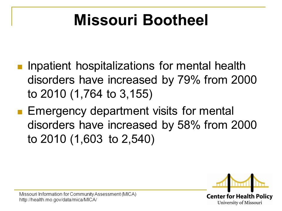 Missouri Bootheel Inpatient hospitalizations for mental health disorders have increased by 79% from 2000 to 2010 (1,764 to 3,155) Emergency department visits for mental disorders have increased by 58% from 2000 to 2010 (1,603 to 2,540) Missouri Information for Community Assessment (MICA) http://health.mo.gov/data/mica/MICA/