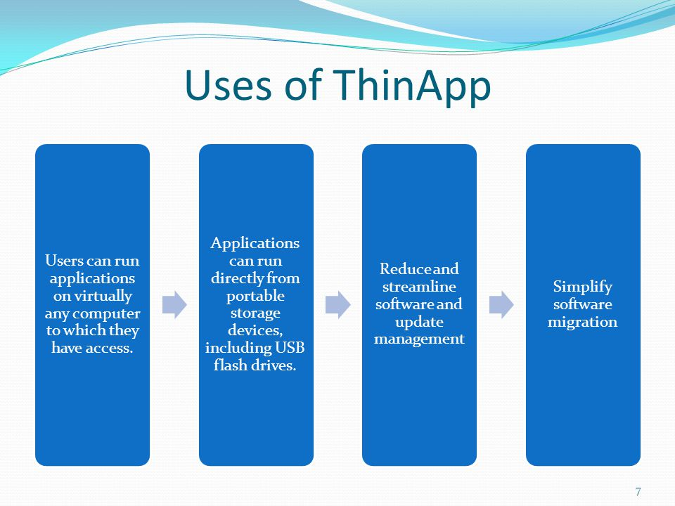 How ThinApp Works VMware ThinApp is an agentless application virtualization tool that dissociates applications from their native operating systems by packaging them into a single ThinApp package.