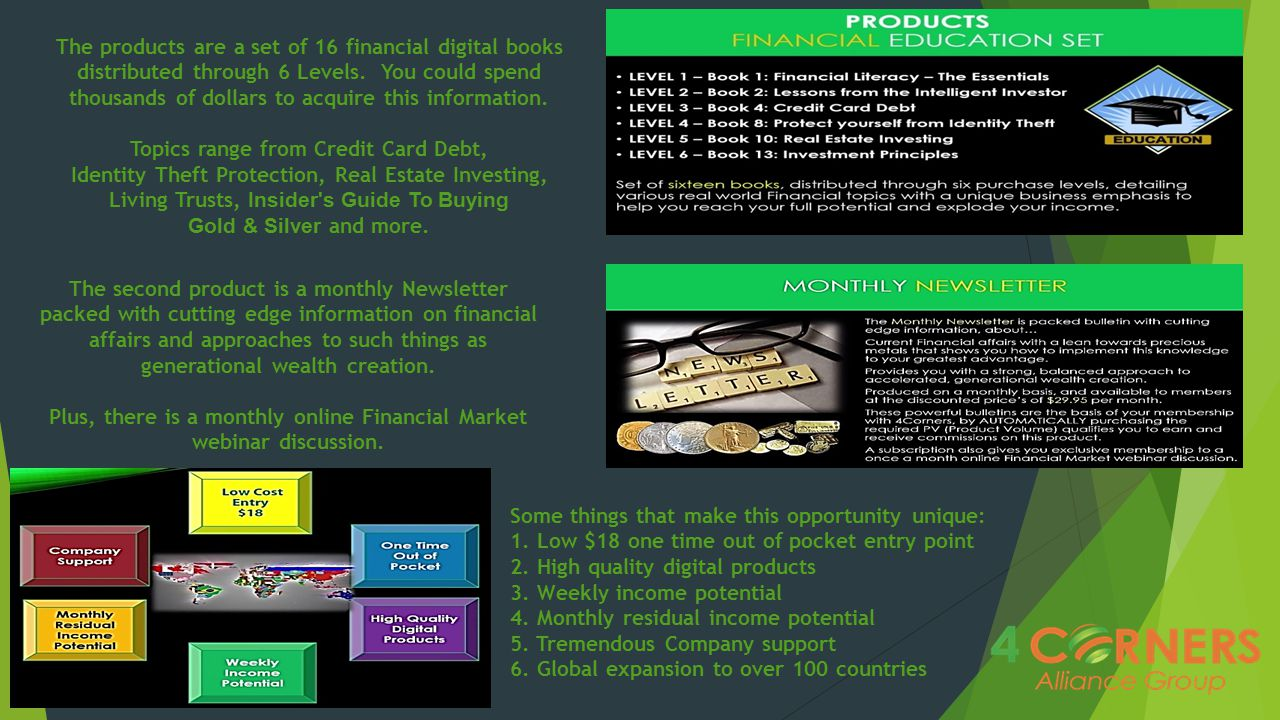 The products are a set of 16 financial digital books distributed through 6 Levels. You could spend thousands of dollars to acquire this information. T
