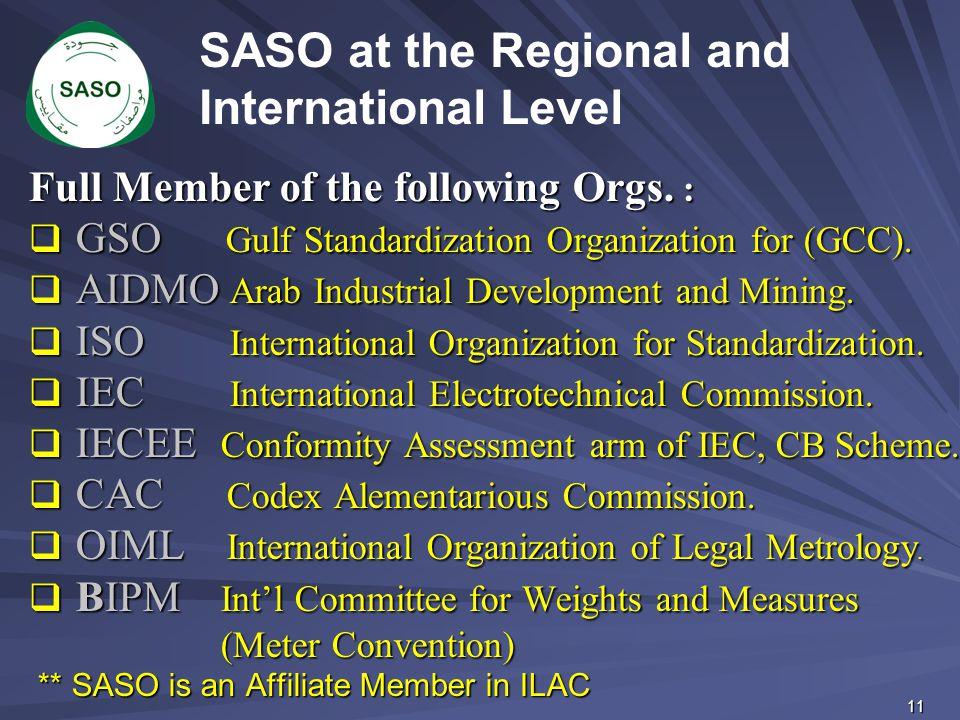 Full Member of the following Orgs. :  GSO Gulf Standardization Organization for (GCC).  AIDMO Arab Industrial Development and Mining.  ISO Internat