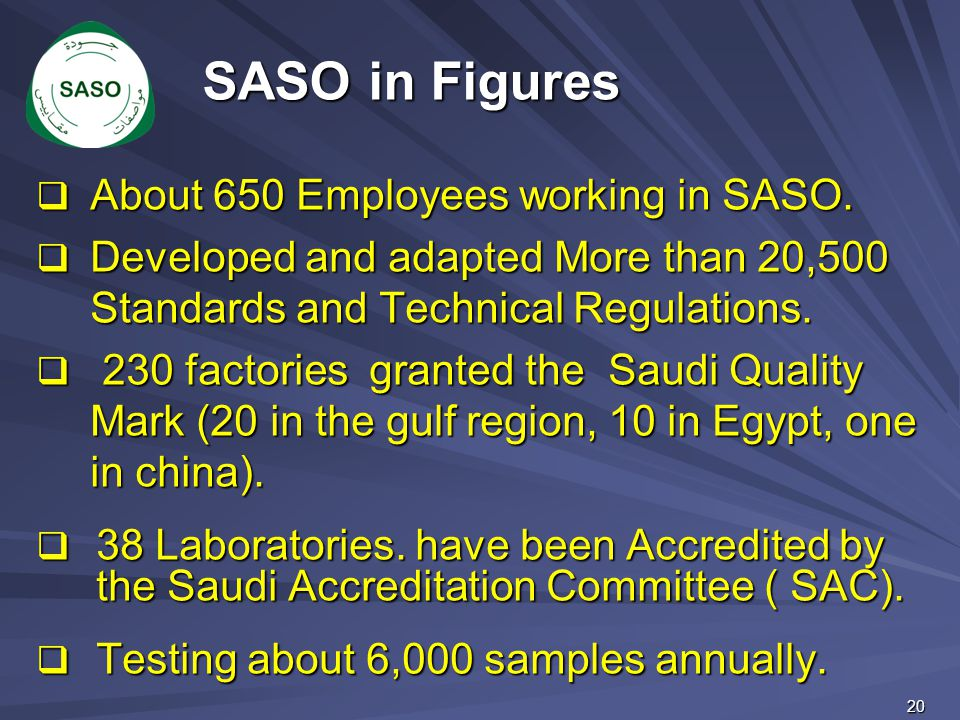  About 650 Employees working in SASO.  Developed and adapted More than 20,500 Standards and Technical Regulations.  230 factories granted the Saudi