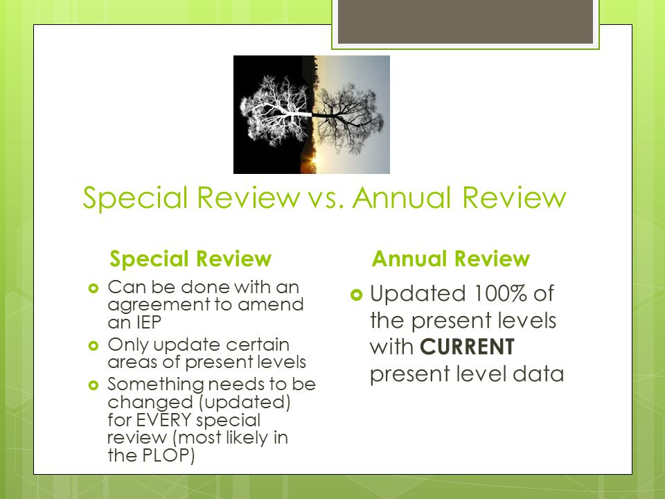 Special Review vs. Annual Review Special Review  Can be done with an agreement to amend an IEP  Only update certain areas of present levels  Someth