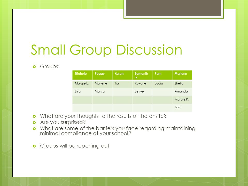 Small Group Discussion  Groups:  What are your thoughts to the results of the onsite?  Are you surprised?  What are some of the barriers you face