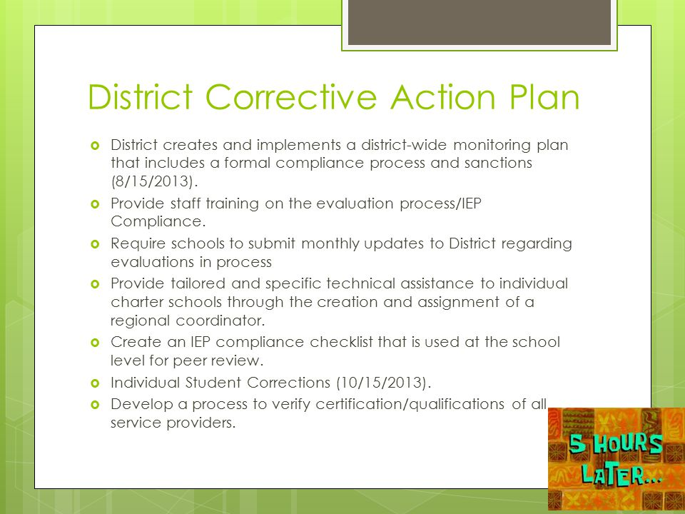 District Corrective Action Plan  District creates and implements a district-wide monitoring plan that includes a formal compliance process and sancti