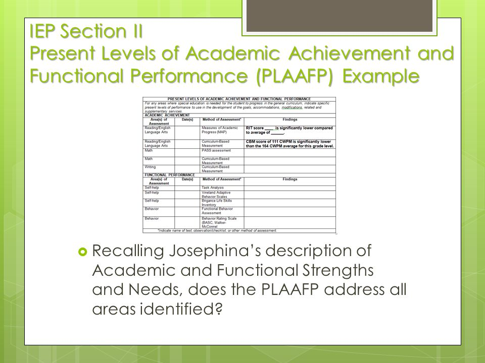 IEP Section II Present Levels of Academic Achievement and Functional Performance (PLAAFP) Example  Recalling Josephina's description of Academic and