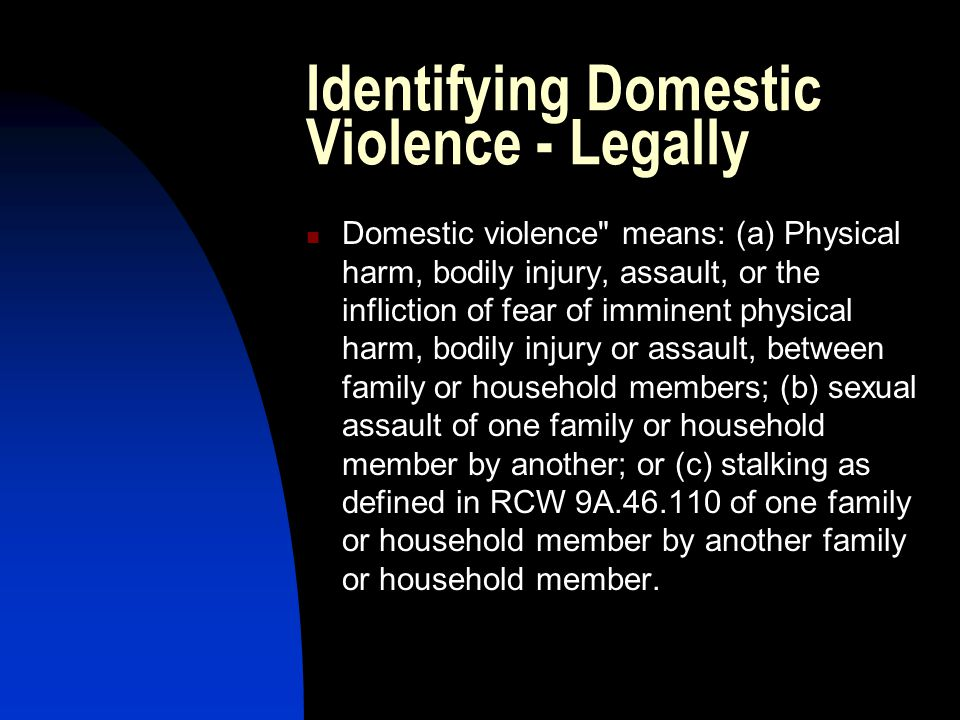 Identifying Domestic Violence - Legally Domestic violence