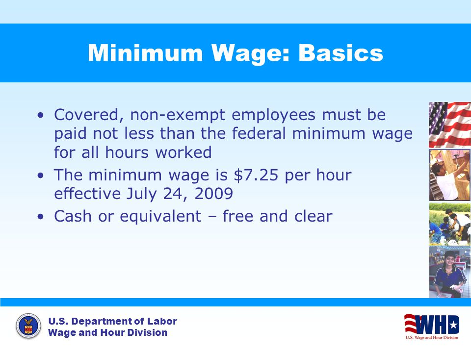 U.S. Department of Labor Wage and Hour Division Minimum Wage: Basics Covered, non-exempt employees must be paid not less than the federal minimum wage