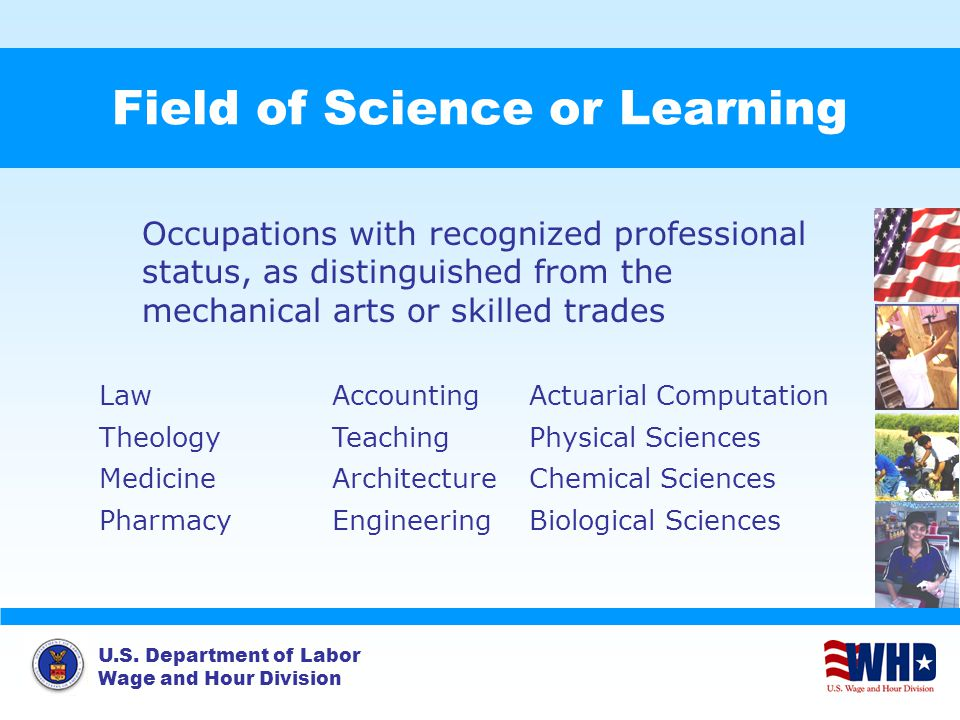 U.S. Department of Labor Wage and Hour Division Field of Science or Learning Occupations with recognized professional status, as distinguished from th