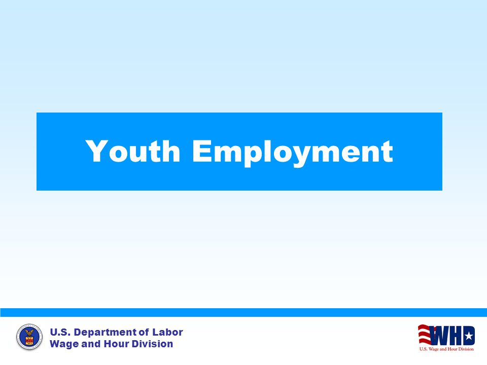 U.S. Department of Labor Wage and Hour Division Youth Employment