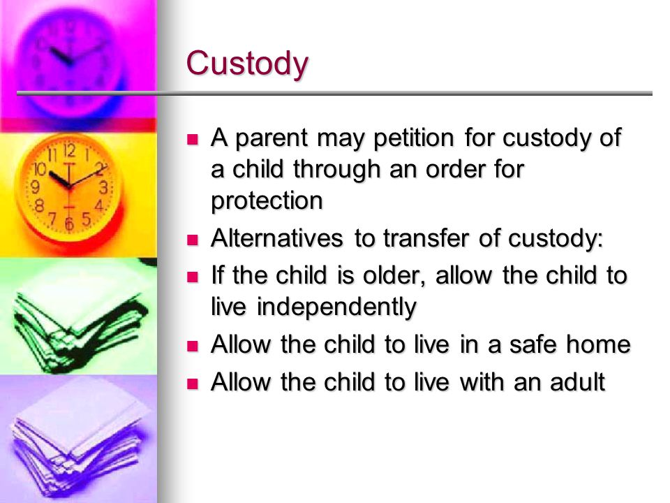 Custody A parent may petition for custody of a child through an order for protection A parent may petition for custody of a child through an order for protection Alternatives to transfer of custody: Alternatives to transfer of custody: If the child is older, allow the child to live independently If the child is older, allow the child to live independently Allow the child to live in a safe home Allow the child to live in a safe home Allow the child to live with an adult Allow the child to live with an adult
