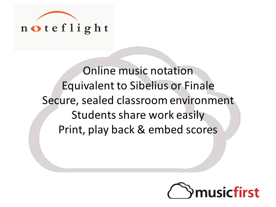 Online music notation Equivalent to Sibelius or Finale Secure, sealed classroom environment Students share work easily Print, play back & embed scores