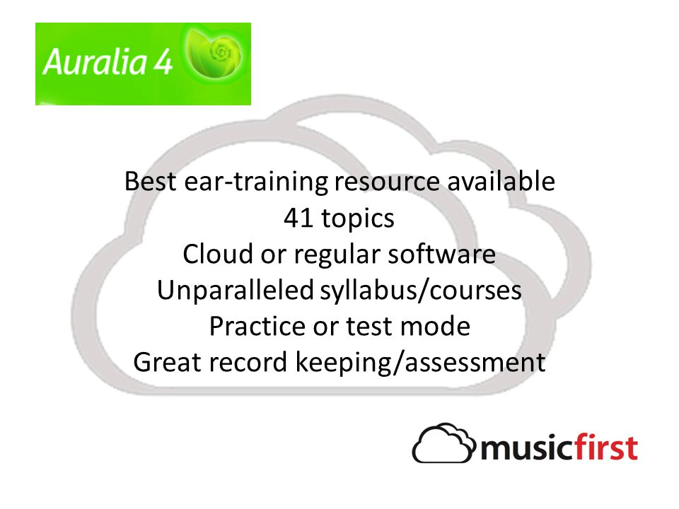 Best ear-training resource available 41 topics Cloud or regular software Unparalleled syllabus/courses Practice or test mode Great record keeping/asse