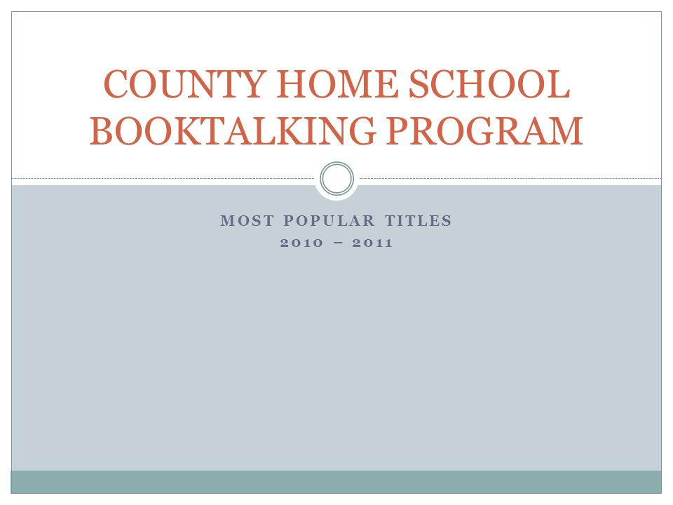 MOST POPULAR TITLES 2010 – 2011 COUNTY HOME SCHOOL BOOKTALKING PROGRAM