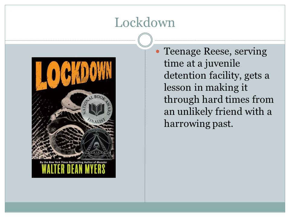 Lockdown Teenage Reese, serving time at a juvenile detention facility, gets a lesson in making it through hard times from an unlikely friend with a harrowing past.