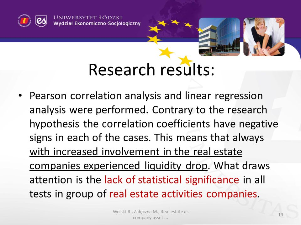 Research results: Pearson correlation analysis and linear regression analysis were performed.