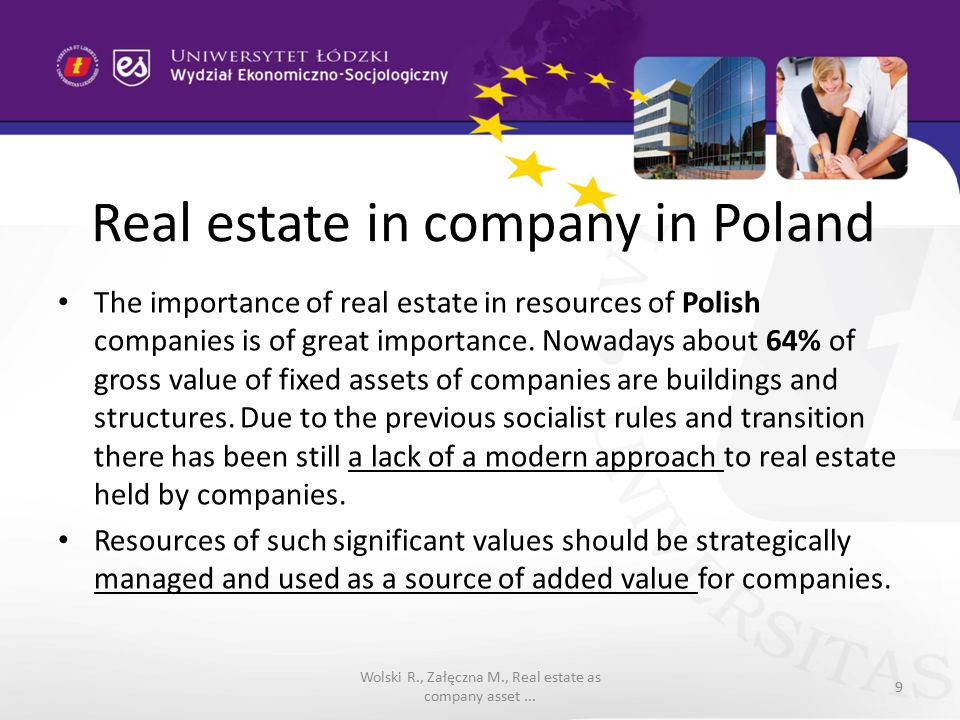 Real estate in company in Poland On the basis of conducted studies it is visible that entrepreneurs see primarily the importance of operational function of real estate.