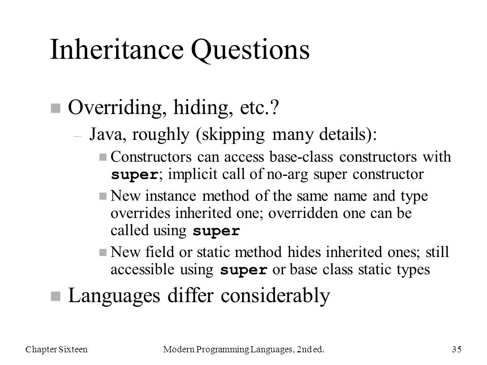 Inheritance Questions n Overriding, hiding, etc..