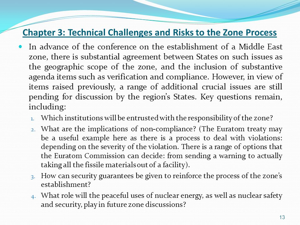 13 Chapter 3: Technical Challenges and Risks to the Zone Process In advance of the conference on the establishment of a Middle East zone, there is sub