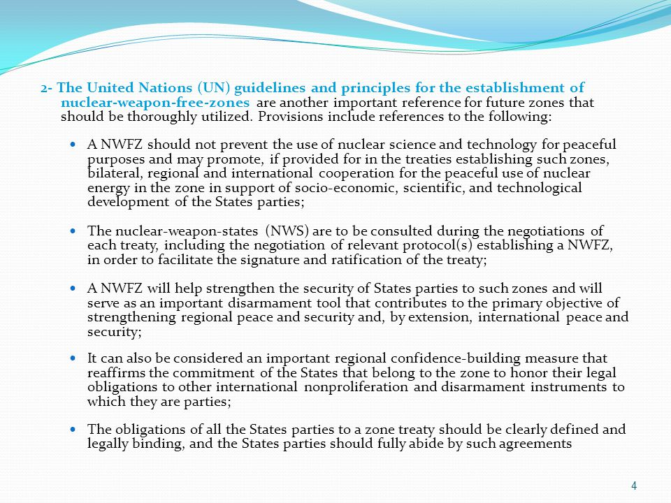 4 2- The United Nations (UN) guidelines and principles for the establishment of nuclear-weapon-free-zones are another important reference for future z