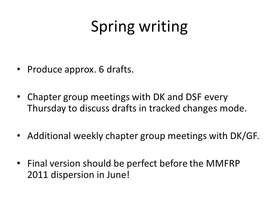 Spring writing Produce approx. 6 drafts.