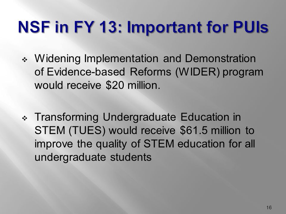  Widening Implementation and Demonstration of Evidence-based Reforms (WIDER) program would receive $20 million.