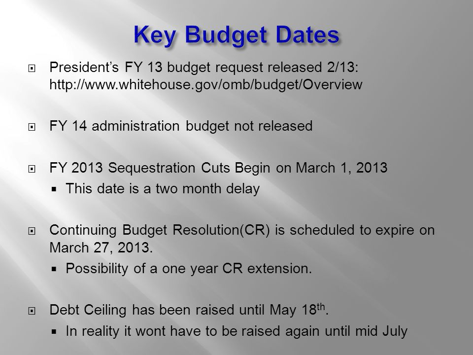  President's FY 13 budget request released 2/13: http://www.whitehouse.gov/omb/budget/Overview  FY 14 administration budget not released  FY 2013 Sequestration Cuts Begin on March 1, 2013  This date is a two month delay  Continuing Budget Resolution(CR) is scheduled to expire on March 27, 2013.