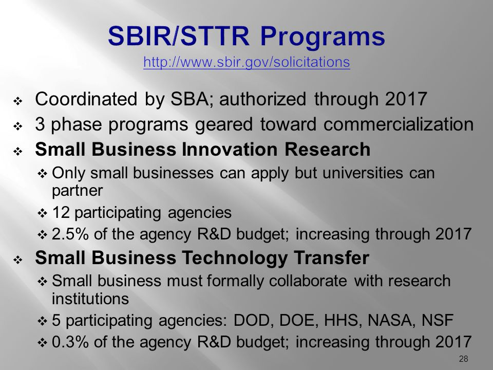  Coordinated by SBA; authorized through 2017  3 phase programs geared toward commercialization  Small Business Innovation Research  Only small businesses can apply but universities can partner  12 participating agencies  2.5% of the agency R&D budget; increasing through 2017  Small Business Technology Transfer  Small business must formally collaborate with research institutions  5 participating agencies: DOD, DOE, HHS, NASA, NSF  0.3% of the agency R&D budget; increasing through 2017 28