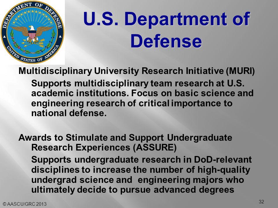 Multidisciplinary University Research Initiative (MURI) Supports multidisciplinary team research at U.S.