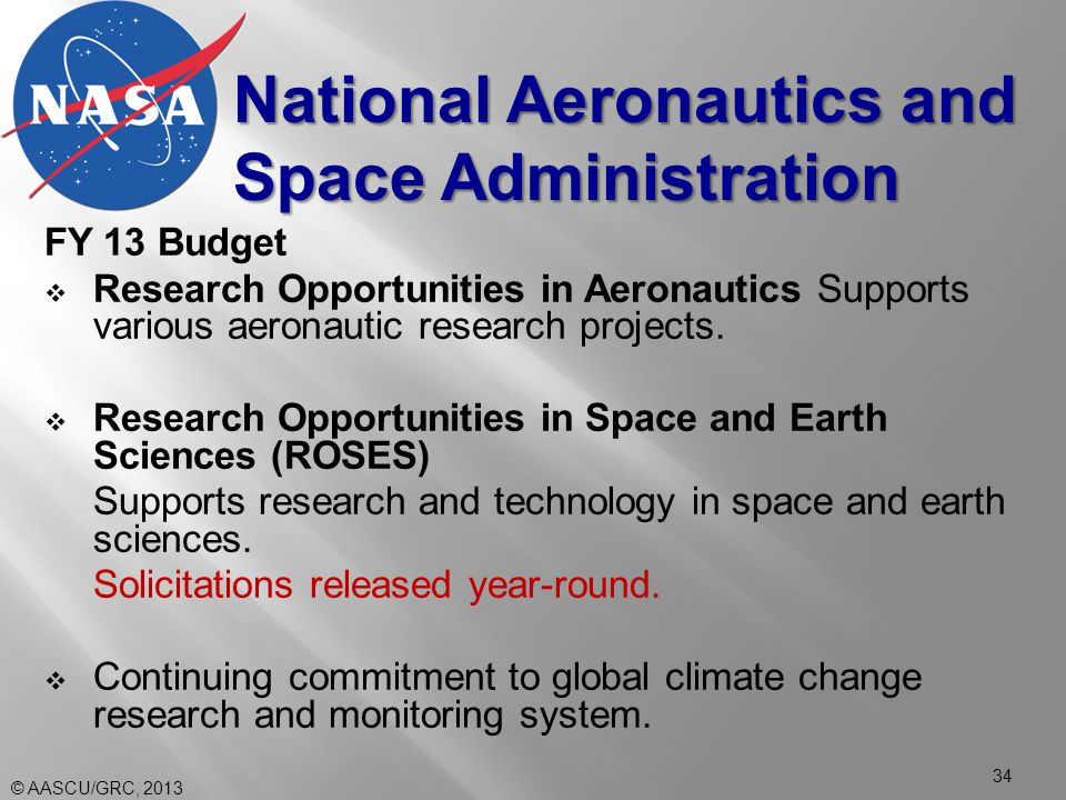 FY 13 Budget  Research Opportunities in Aeronautics Supports various aeronautic research projects.