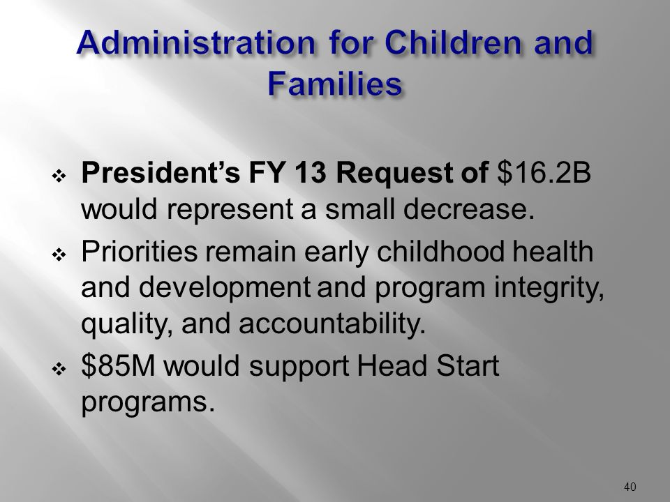  President's FY 13 Request of $16.2B would represent a small decrease.