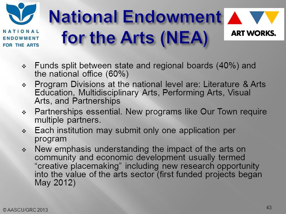  Funds split between state and regional boards (40%) and the national office (60%)  Program Divisions at the national level are: Literature & Arts Education, Multidisciplinary Arts, Performing Arts, Visual Arts, and Partnerships  Partnerships essential.