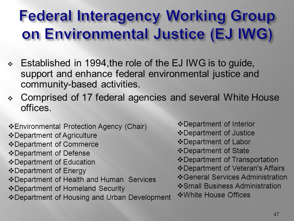  Established in 1994,the role of the EJ IWG is to guide, support and enhance federal environmental justice and community-based activities.