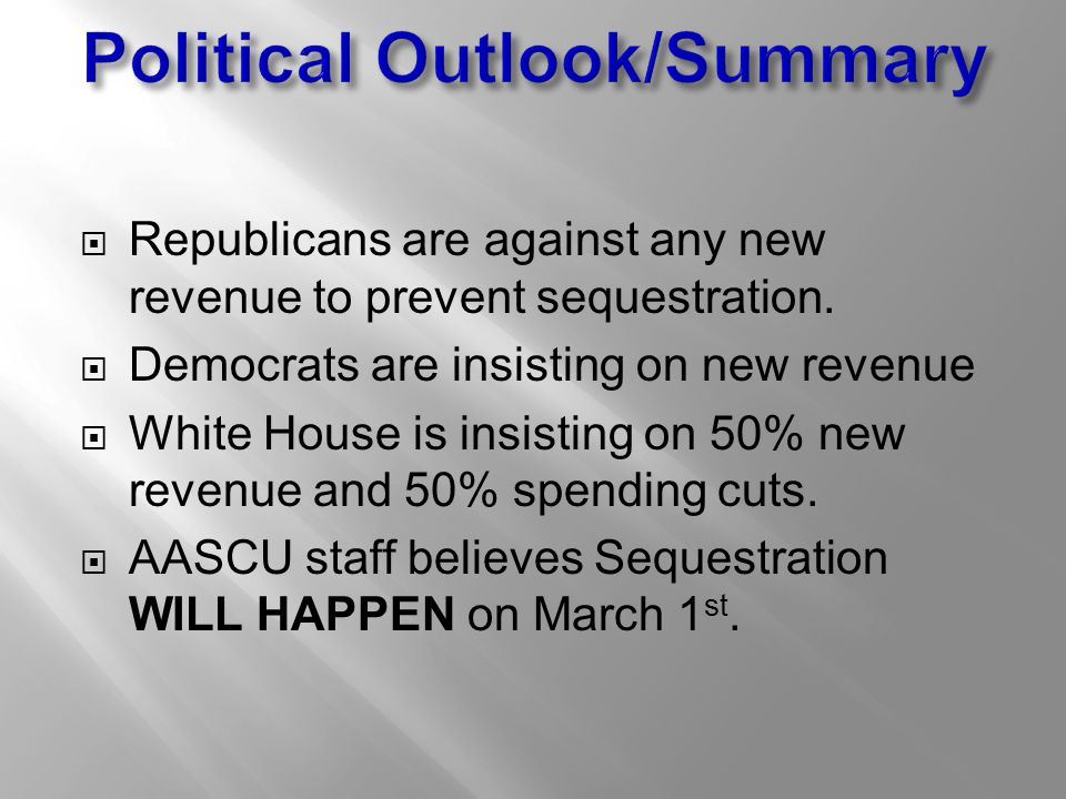  Republicans are against any new revenue to prevent sequestration.