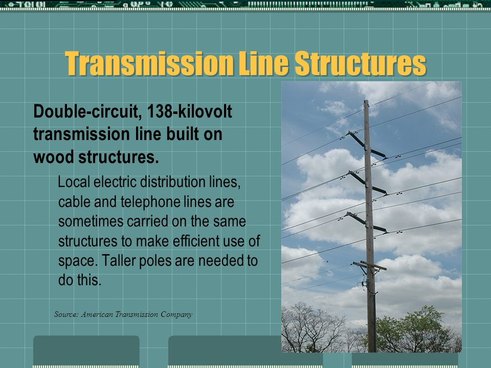 Transmission Line Structures Double-circuit, 138-kilovolt transmission line built on wood structures.