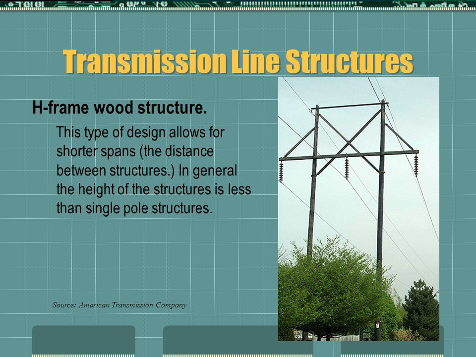 Transmission Line Structures H-frame wood structure. This type of design allows for shorter spans (the distance between structures.) In general the he