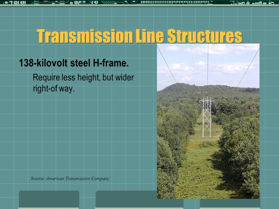 Transmission Line Structures 138-kilovolt steel H-frame. Require less height, but wider right-of way. Source: American Transmission Company