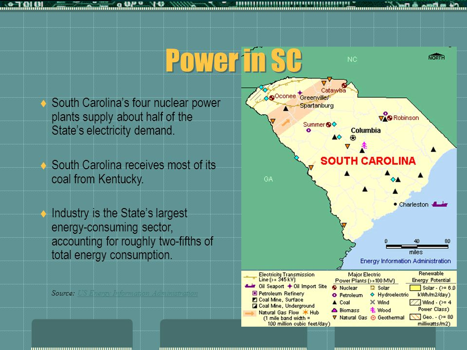 Power in SC  South Carolina's four nuclear power plants supply about half of the State's electricity demand.