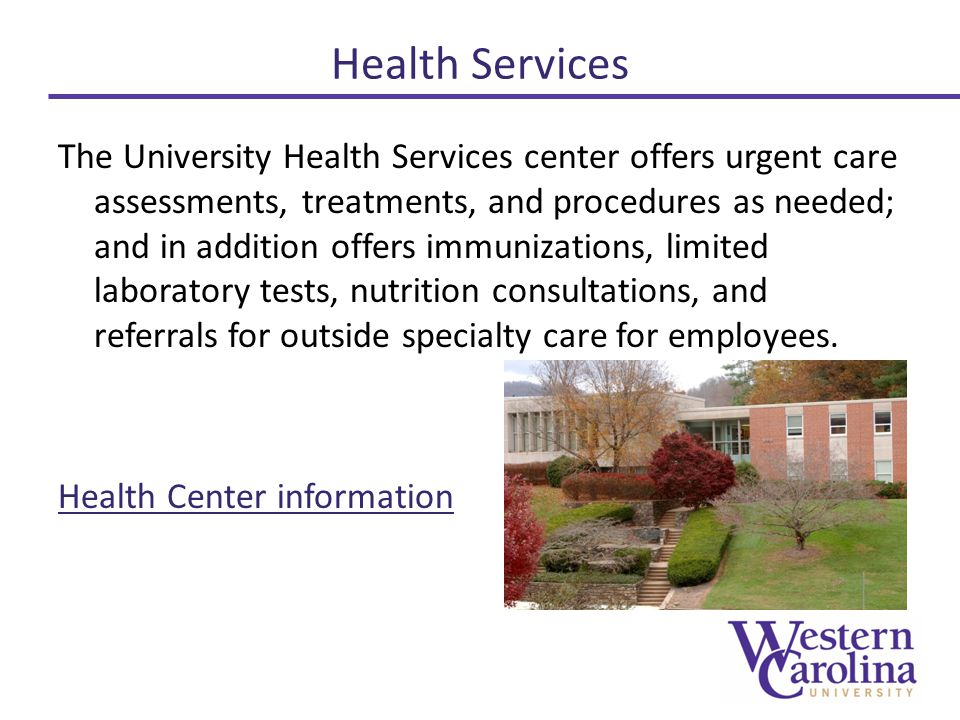 Health Services The University Health Services center offers urgent care assessments, treatments, and procedures as needed; and in addition offers immunizations, limited laboratory tests, nutrition consultations, and referrals for outside specialty care for employees.