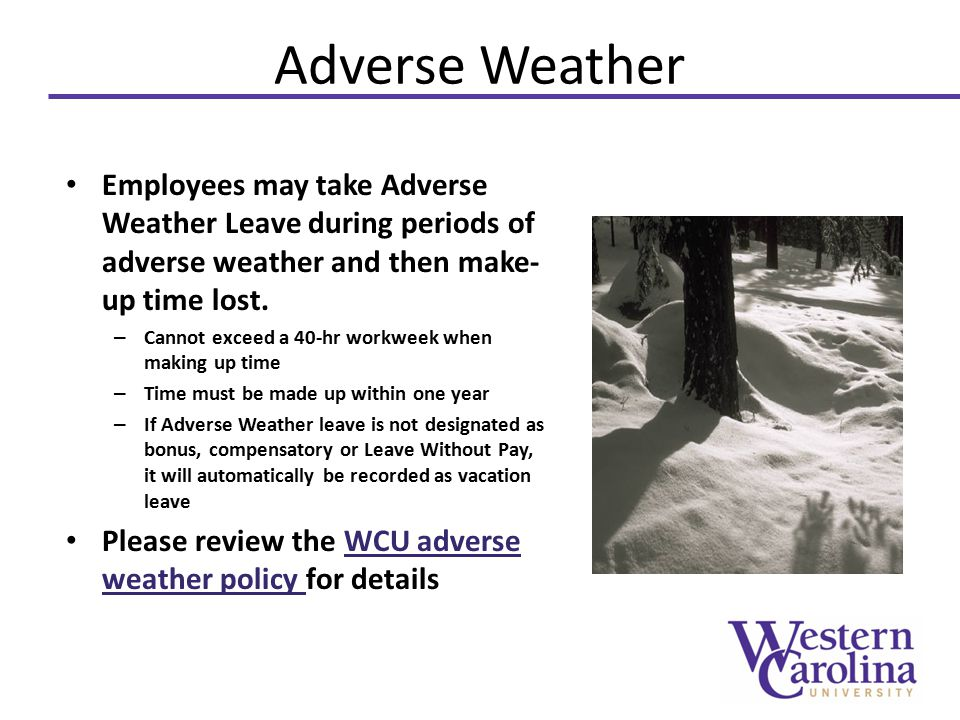 Adverse Weather Employees may take Adverse Weather Leave during periods of adverse weather and then make- up time lost.