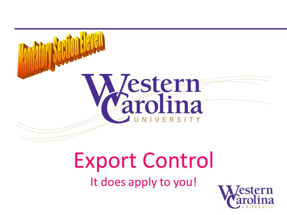 Export Control It does apply to you!