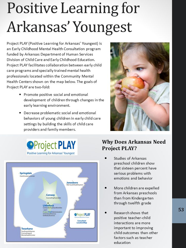 Positive Learning for Arkansas' Youngest Project PLAY (Positive Learning for Arkansas' Youngest) is an Early Childhood Mental Health Consultation prog