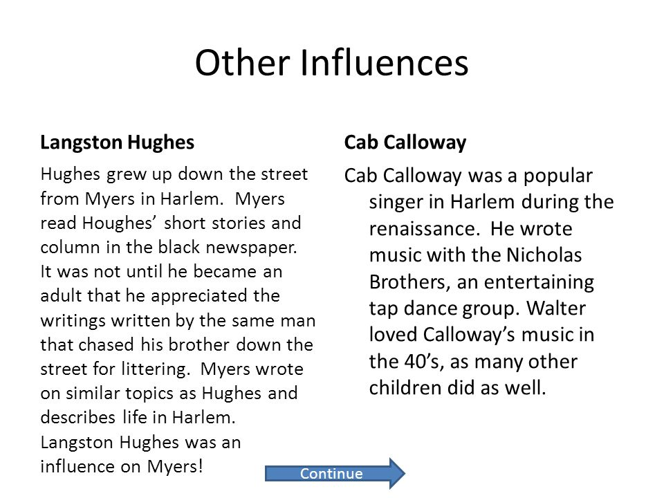 Other Influences Langston Hughes Hughes grew up down the street from Myers in Harlem. Myers read Houghes' short stories and column in the black newspa