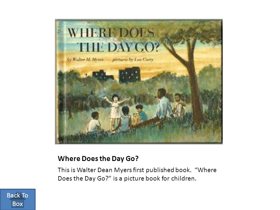 """Where Does the Day Go? This is Walter Dean Myers first published book. """"Where Does the Day Go?"""" is a picture book for children. Back To Box"""