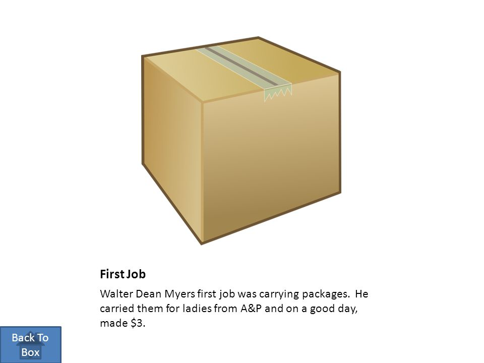 First Job Walter Dean Myers first job was carrying packages.